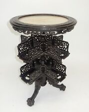 Antique Chinese Export ebonized rosewood revolving onxy top table circa 1850