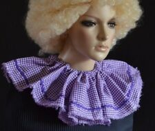 CIRCUS CLOWN or SCARECROW RUFF/RUFFLE COLLAR adult size PURPLE GINGHAM