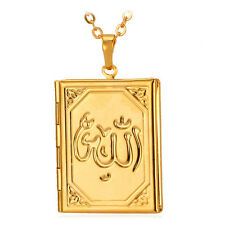 U7 Muslim Allah Pendant Book Locket Photo Picture Frame Necklace Floating Charms