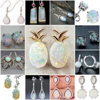 925 Silver Moonstone Opal Earrings Wedding Dangle Drop Ear Hook Jewelry Woman