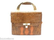 VTG 70s Purse Leather Stamped Croc Snake Famous Maker Look Italy Lock Never Used