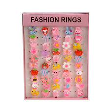50pcs Candy Cute Kids Girls Cartoon Plastic Rings Gift Wholesale Pink Square Box