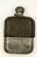 Antique STERLING SILVER HIP FLASK James Dixon & Sons Leather Clad Luxury 1895
