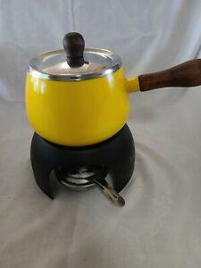 Vintage Yellow Enameled Fondue Pot Set Warming Pot Mid Century Modern