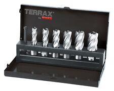 TERRAX 7pcs. Magnetic Core Drill Bit Set HSS, Cutting Depth 30mm MADE IN GERMANY