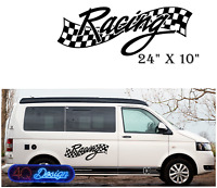 """RACING""  Car/Van/ caravan/ boat Sticker decal X Large 24""x10"""