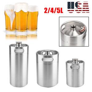 2/5L Stainless Steel Mini Keg Bottle Growler Craft Beer Bar Barrel Homebrew