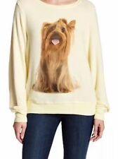 Wildfox Granny Dog Yorkie Yellow Barefoot Sweater Pullover Small