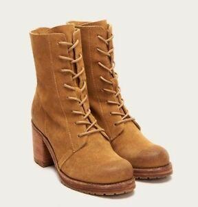 NEW Frye Karen Cognac Suede Combat Boots Womens 11 $328