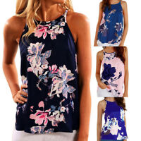 Summer Womens Sleeveless Floral Tank Tops Beach Casual Loose Blouse Vest T-shirt