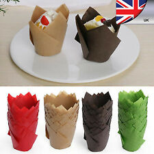 50 Baking Papers Cupcake Muffin Cup Wrapper pure Color Tulip Case Cake Liners