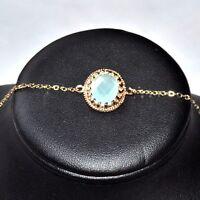 Bracelet chaîne couleur or cristal bleu vert façon aigue marine 18cm bijou  A3