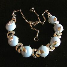 Vintage Light Blue Thermoset Lucite Choker-Style Necklace in Silver-Tone