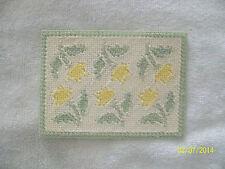 "Doll House Handmade Needlepoint Flower Pattern Rug 3 7/8"" x 5 1/4"" 100% Wool"