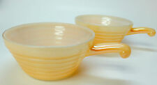 2 Fire King Oven Ware Peach Orange Luster Long Handle Soup Chili Cereal Bowls