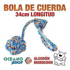 BOLA DE CUERDA PERRO ALGODÓN LIMPIAENCÍAS AZUL Y NARANJA 34CM LONGITUD D15 20123