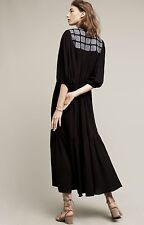NWT Anthropologie LOVE Binetti Black Denim Patch Ruffle Maxi Swing Dress S