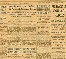 8-1936 August 1 11th Olympics open in Berlin Hitler to Host Rebels drive Madrid
