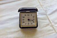 Wecker Reisewecker Leder Metall Ankra Uhr Tischuhr Vintage 1940er 40s 50s