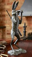 HUNTING HARE SOLID BRONZE LOST WAX SCULPTURE UNIQUE CONTEMPORARY ART No 18 / 90