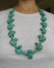 Vintage Zuni Sterling Silver, Turquoise Bear Animal Fetish Large Necklace