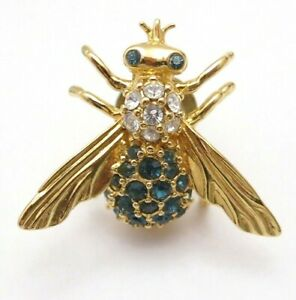 Goldtone Teal Blue Stone Fly Pin