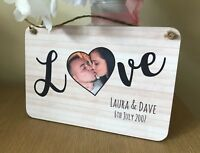 Personalised Photo Wooden Plaque Gift Love Wedding Anniversary Valentines Day