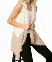 Coverstitched Womens M Boho Ivory & Taupe Size Medium M Faux-Fur Vest Jacket