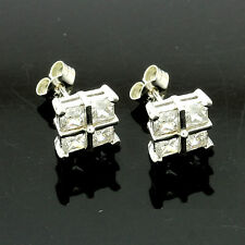 9ct White Gold Square C/Z Earrings - UK MADE