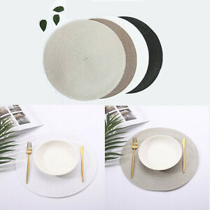 1-4PCS of Round Jacquard Weaved Non Slip Placemats Dining Table Place Mats Set