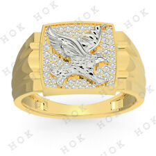 Band 18k Yellow White Gold Finish Men's Eagle Bird Lucky Fashion Wedding Ring