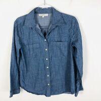 Ann Taylor LOFT Size Medium Chambray Button Shirt Blue Medallion Long Sleeve