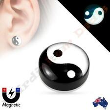 Yin Yang Dome Top Acrylic Glow in the Dark Non Piercing Magnetic Ear Plug
