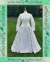 Floral Brocade Satin Original 50s Vintage Long Train Wedding Dress Size S 8 - 10
