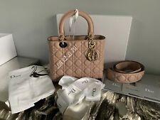 CHRISTIAN DIOR Lady Dior Beige Poudre Supple Medium Bag Nude Goatskin Gold Charm