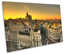 Madrid City Spain Sunset SINGLE CANVAS WALL ART Print Picture