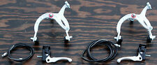 White Old School BMX Bike MX Brake Set Lever Cable Caliper VintageCruiserBicycle