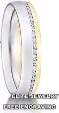WOMENS 10K WHITE AND YELLOW GOLD ANNIVERSARY WEDDING BAND RINGS DIAMONDS~4.5MM