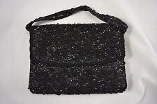 VINTAGE 1960s black beaded sequin satin evening bag clutch removable handle