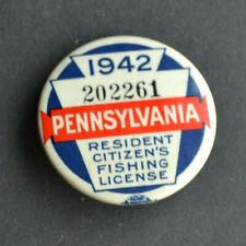 1942 Pennsylvania Resident Citizen's Pin Back Button Fishing License