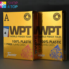 2 DECKS FOURNIER WPT GOLD EDITION WORLD POKER TOUR PLASTIC PLAYING CARDS JUMBO