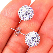 Stunning Disco Ball Fancy 925 Stamped Sterling Silver Earrings Jewelry H1028