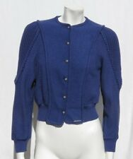 GEIGER Austria Blue Boiled Wool Cardigan Sweater Jacket Top size 34 2 4 EUC