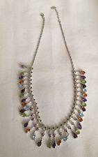 "$1299 Genuine Amethyst Garnet Peridot Citrine Topaz Sterling Silver Necklace 20"""