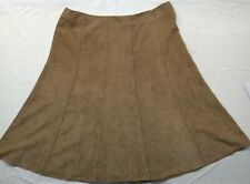 Avenue Mocha Brown Suede Finished Pleated Skirt - Size 20W