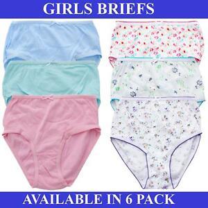 6 Pack Girls Briefs Underwear Kids Knickers 100% Cotton Age 2 – 13 Years