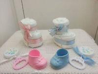 Mini Baby Bootie Diaper Cake Baby Shower Favor Centerpiece Gift Girl Boy Unisex