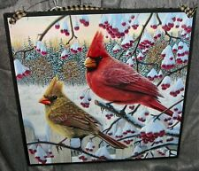 "Handmade Primitive Picture Wall Art by Kim Norlien ""Winter Cardinals"""