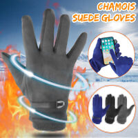 Ladies Womens Warm Touch Screen Winter Soft Real Suede Gloves Windproof Gift