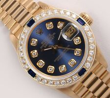 Rolex Lady President 18k Gold 26mm-Navy Blue Diamond Dial-Sapphire Diamond Bezel